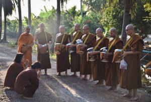 Morning almsround Samut Sakhon Thailand